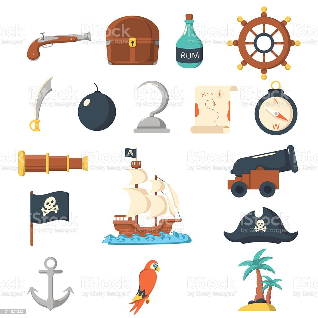 Pirate icons flat set vector art illustration