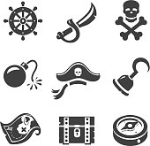 Pirate Icons  Skull and chest, pirates treasure map, hat