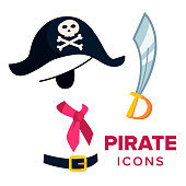 Pirate Icons Vector. Accessories Hat, Sword Isolated Cartoon Illustration