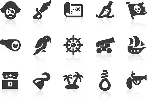 illustrations, cliparts, dessins animés et icônes de icônes de pirate - cartes au trésor