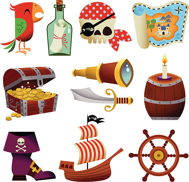 pirate icons. - pirates stock illustrations, clip art, cartoons, & icons