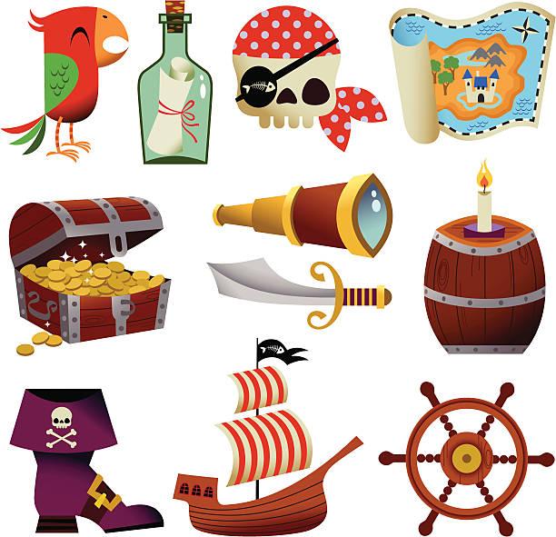 illustrations, cliparts, dessins animés et icônes de icônes de pirate. - cartes au trésor