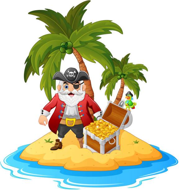 pirate im treasure island - haifischköder stock-grafiken, -clipart, -cartoons und -symbole