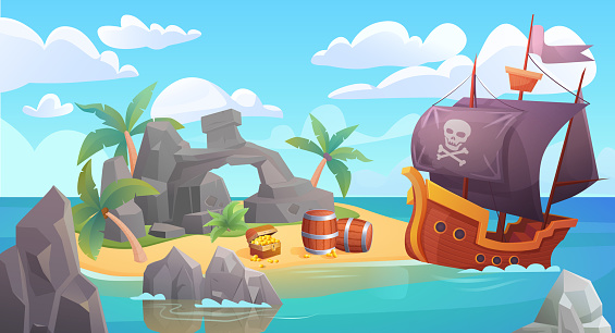 Pirate island landscape vector illustration, cartoon scenic seascape with piratical ship in ocean or sea waters and treasure old chest full of gold on rocky beach island