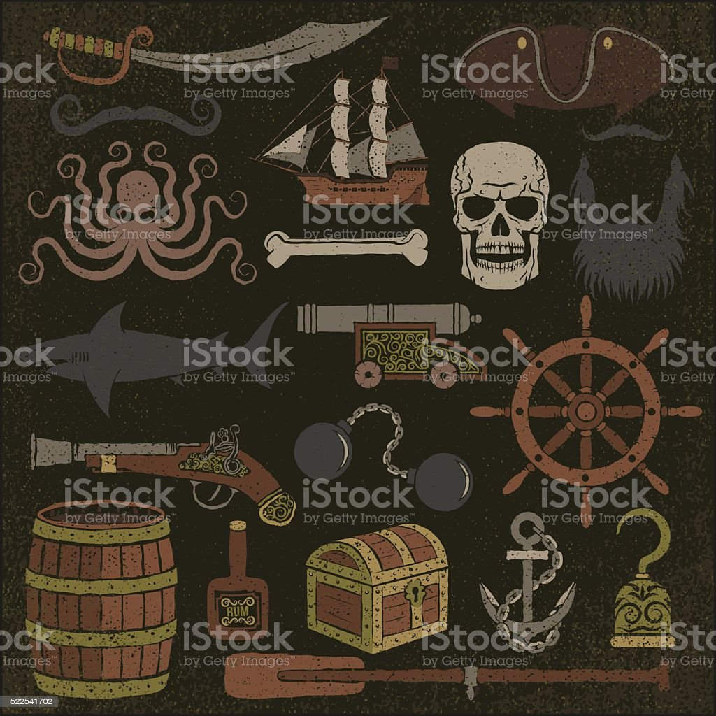Pirata Artículos De Color - Arte vectorial de stock y más imágenes ...