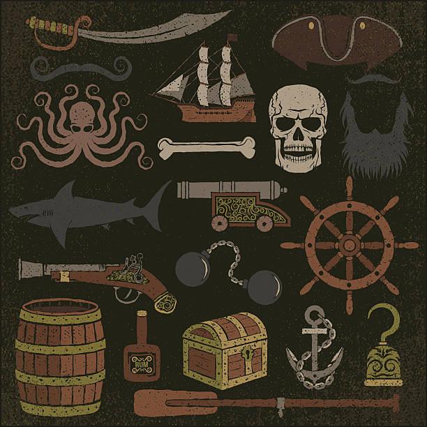 pirat artikel farbe - haifischköder stock-grafiken, -clipart, -cartoons und -symbole