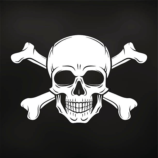 stockillustraties, clipart, cartoons en iconen met pirate jolly roger with crossbones template. death t-shirt concept - vervuiling