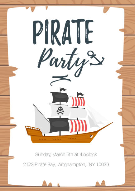 pirate kid party poster template - pirates stock illustrations, clip art, cartoons, & icons