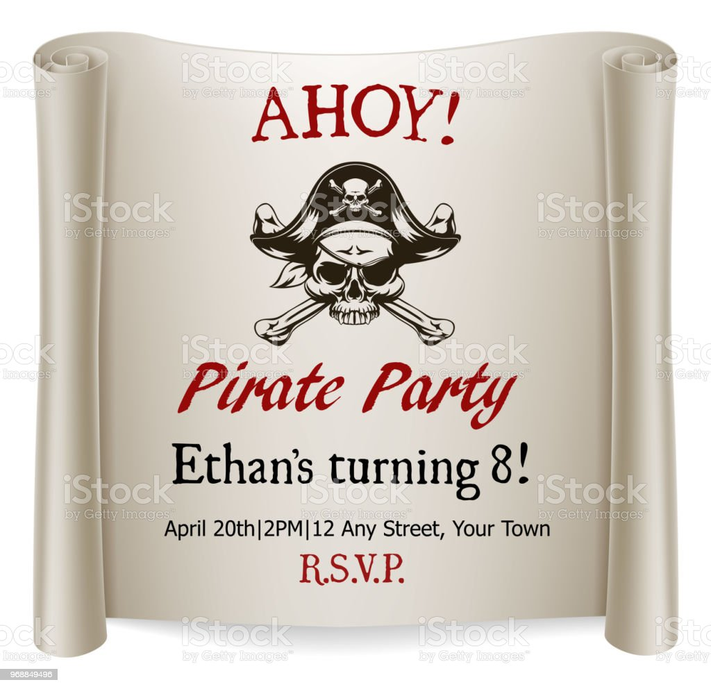 pirate kids birthday party invite template stock vector art more