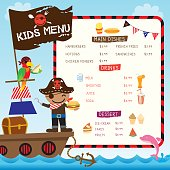 Illustration vector of cute pirate kids with ship on ocean sea background for menu template