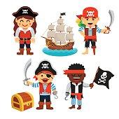 Pirate kids set: treasure chest, black flag, ship