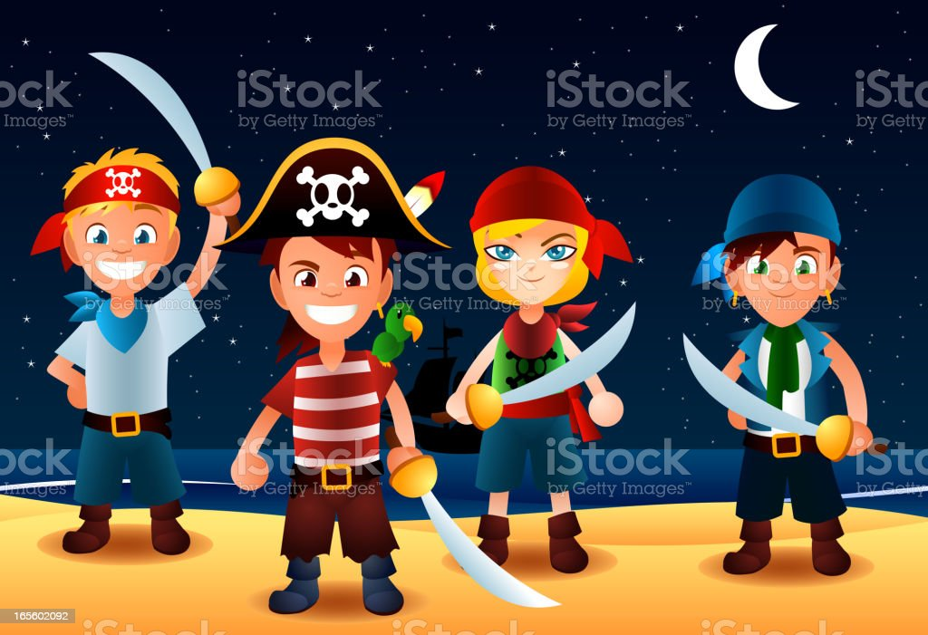 Pirate Kids with swords at night royalty-free pirate kids with swords at night stock vector art & more images of adult