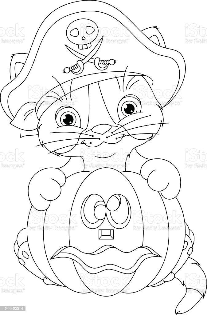Ilustración de Pirata Mascota Página Para Colorear y más banco de ...