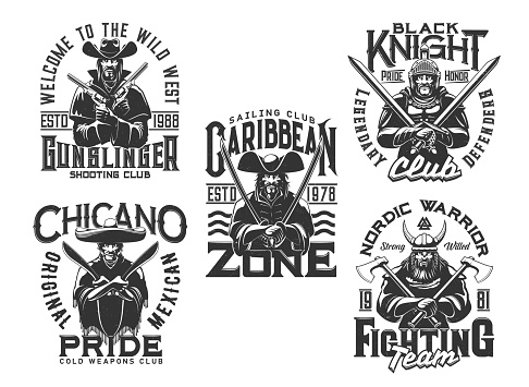Pirate, knight warrior and wild west t shirt print
