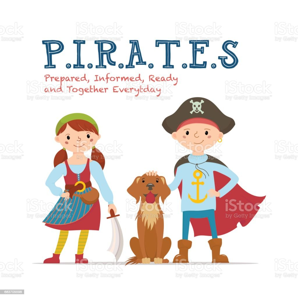 pirate lettering poster design with kids dressed as pirates stock
