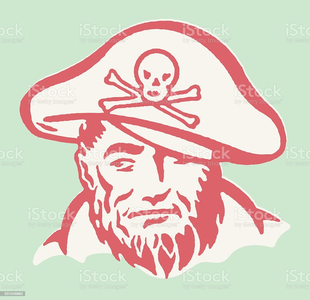 Pirate Looking to the Side vector art illustration