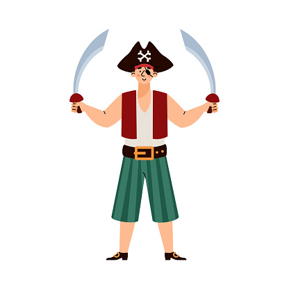 Pirate man standing holding two swords, cartoon vector illustration isolated.