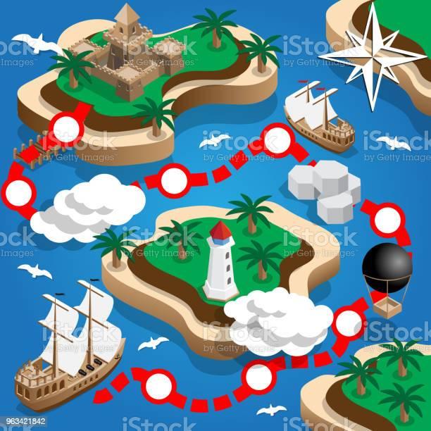 Mapa Piratów - Stockowe grafiki wektorowe i więcej obrazów Rzut izometryczny