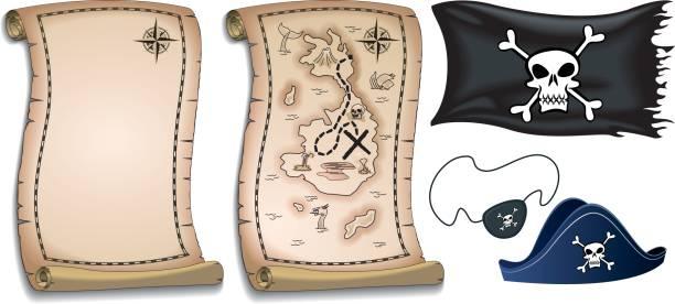pirate karten und elementen - matrosenmütze stock-grafiken, -clipart, -cartoons und -symbole