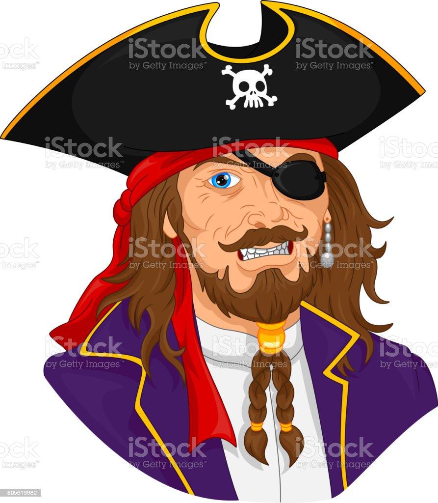 pirate mascot vector art illustration