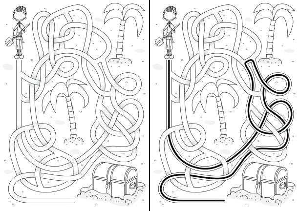 Labirinto de pirata - ilustração de arte em vetor