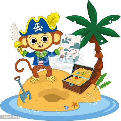 Pirate Monkey Mit Papagei Stock Vektor Art und mehr Bilder von  Charakterkopf - iStock