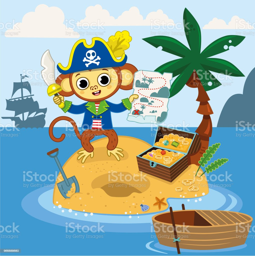 Pirate monkey found the treasure chest with his map on an island. vector art illustration