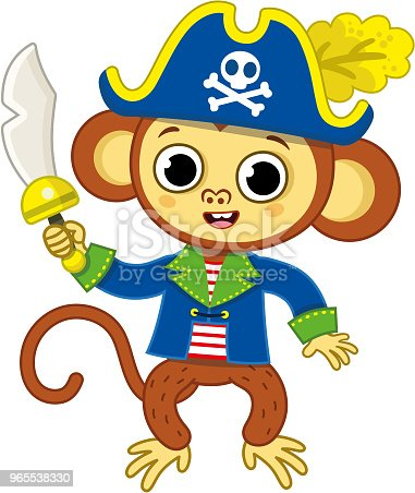 Monkey pirate character in cartoon style, in a blue-white vest, black pirate  hat with a saber on a belt. Clipart   k68372432   Fotosearch