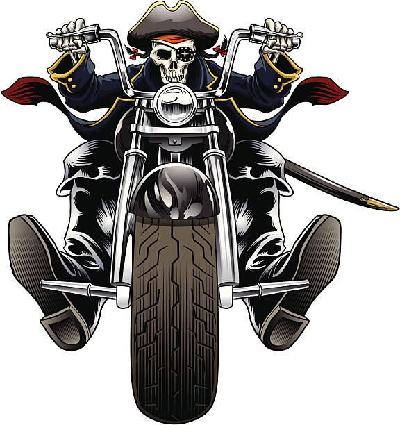 Pirate Motorcycle rider vector art illustration