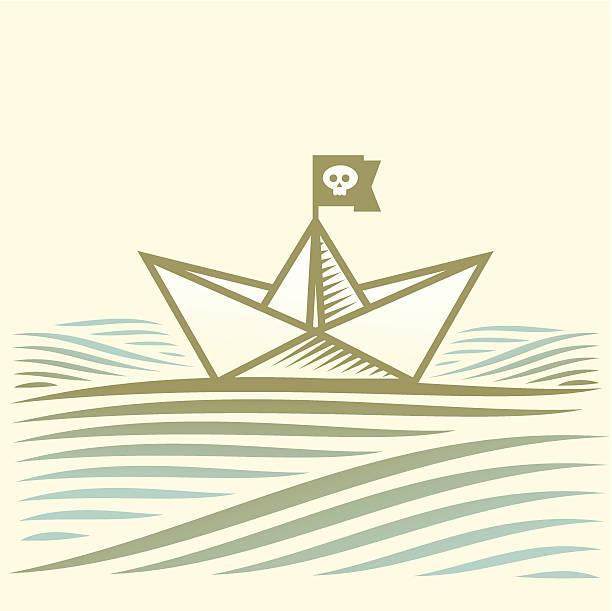 pirate Papier Boot Segeln auf dem Wasser mit Wellen – Vektorgrafik