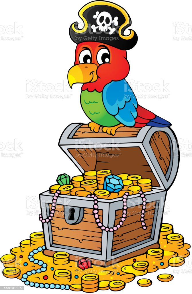 Pirate Parrot On Treasure Chest Topic 2 Stock Illustration