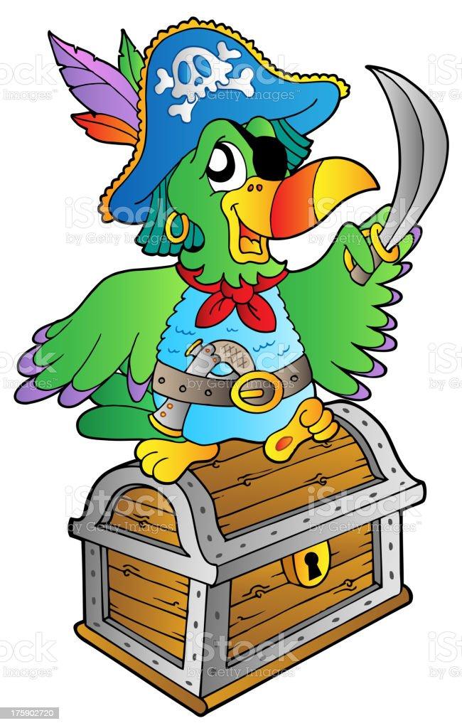 Pirate Papagei Auf Treasure Chest Stock Vektor Art Und Mehr