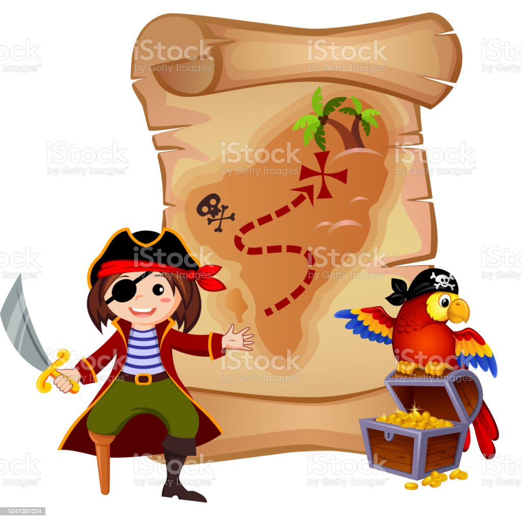 pirate parrot treasure chest and template letter stock vector art