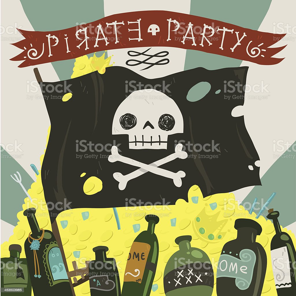 Pirate party card vector art illustration