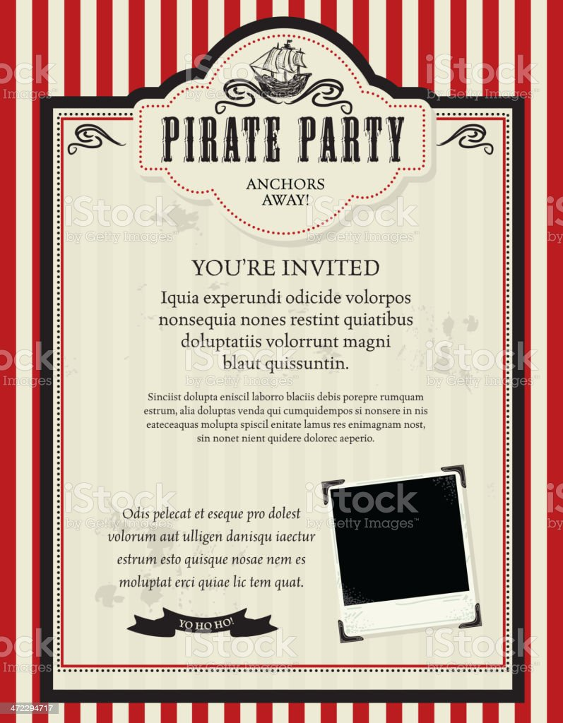 Pirate party invitation design template with pirate ship stock pirate party invitation design template with pirate ship royalty free pirate party invitation design template stopboris