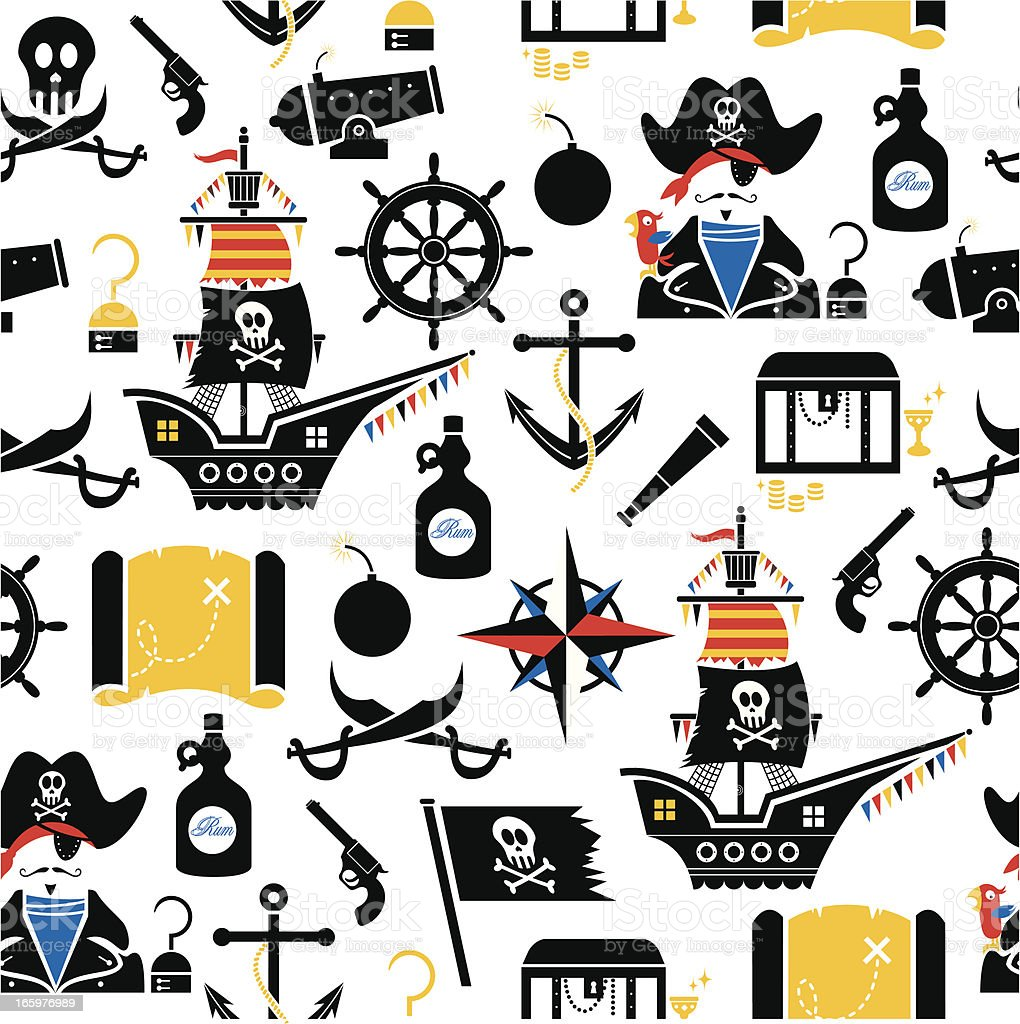 Pirate Pattern vector art illustration