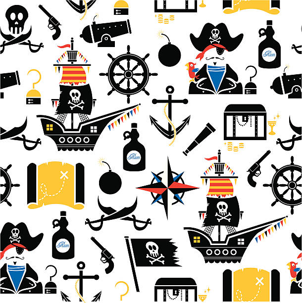 pirate pattern - treasure map backgrounds stock illustrations