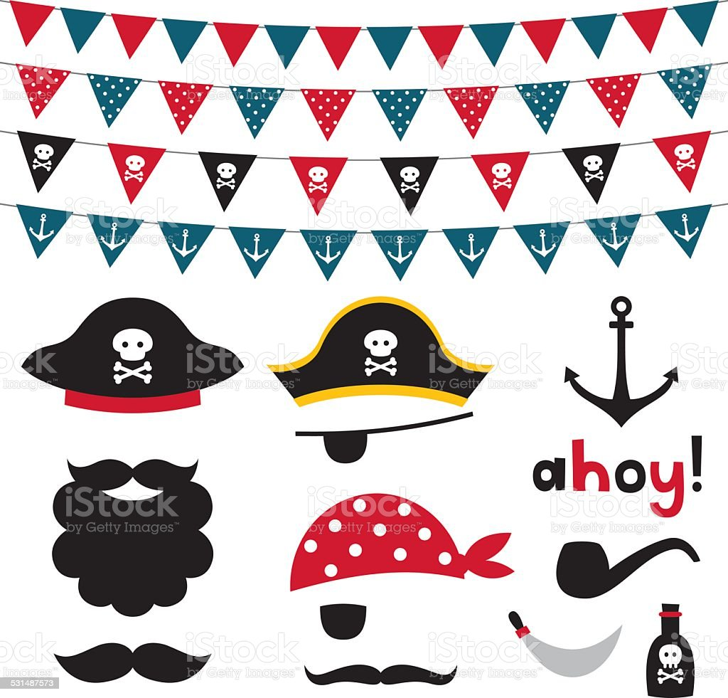Pirate photo booth props and scrapbooking vector set vector art illustration