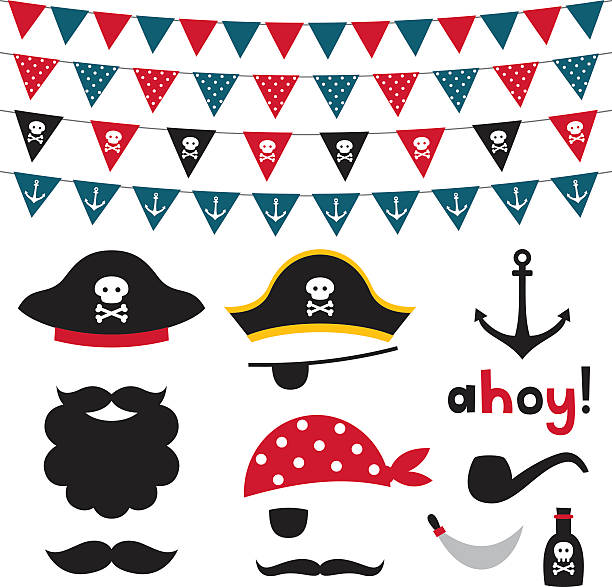 pirate photo booth props and scrapbooking vector set - pirates stock illustrations, clip art, cartoons, & icons