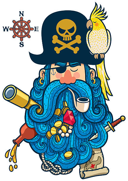 pirate portrait - old man smoking pipe cartoons stock illustrations, clip art, cartoons, & icons