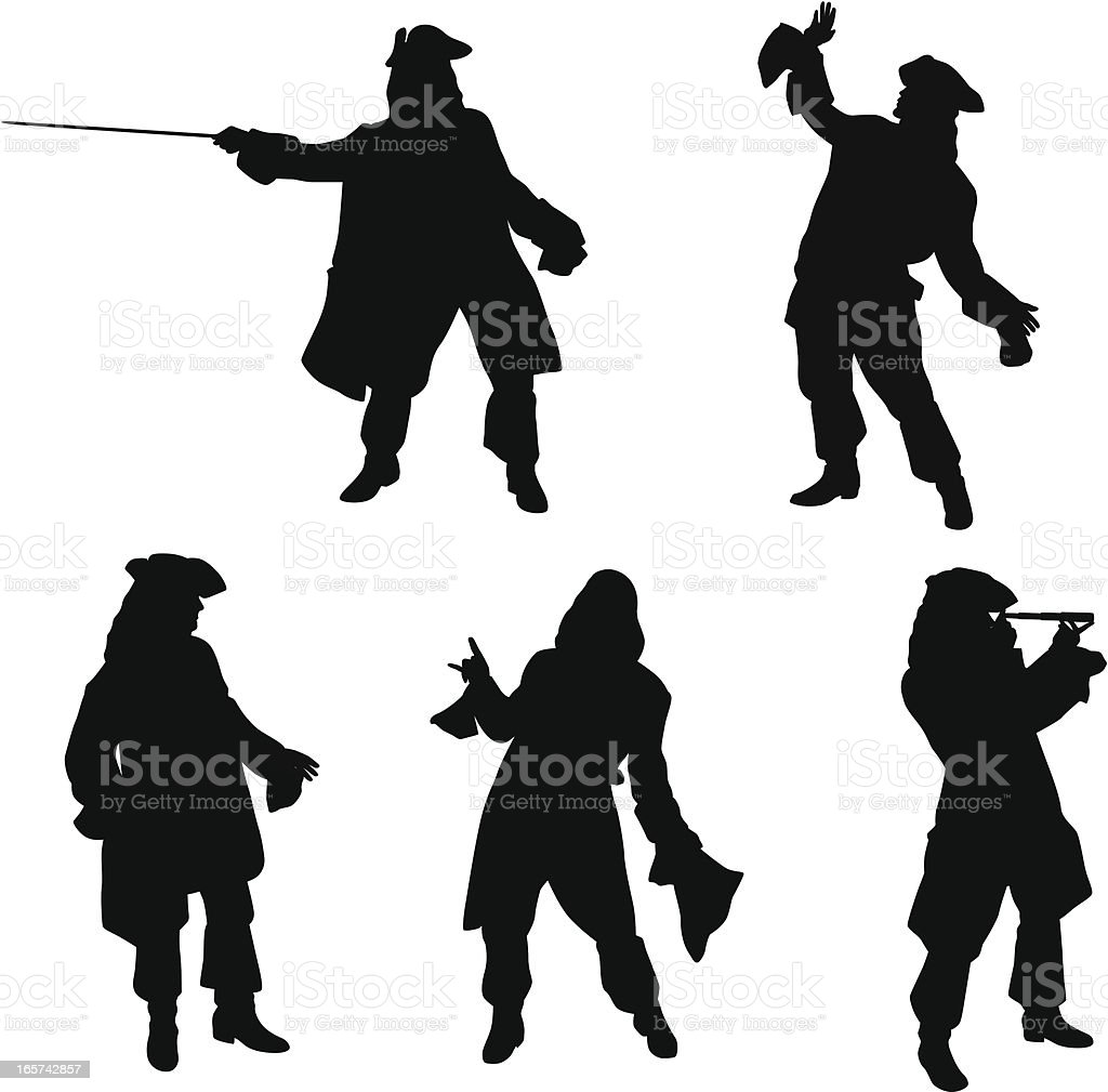 Pirate poses vector silhouette royalty free pirate poses vector silhouette stock vector art