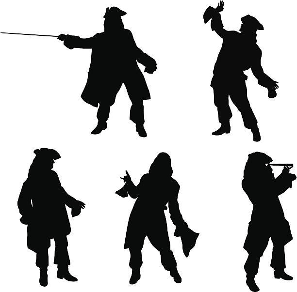 stockillustraties, clipart, cartoons en iconen met pirate poses vector silhouette - 18e eeuwse stijl