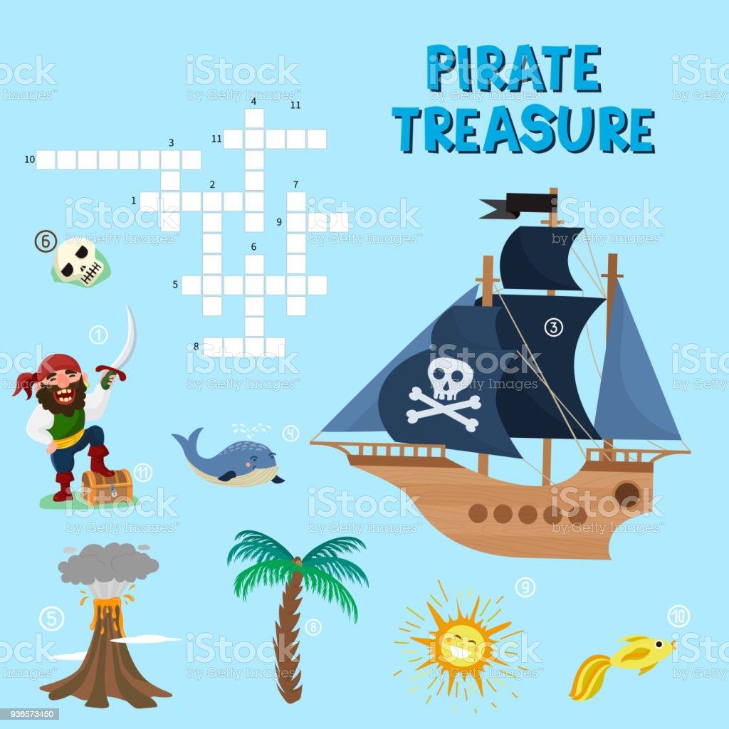 Piraten Puzzle Vektor Schatz Kreuzworträtsel Labyrinth