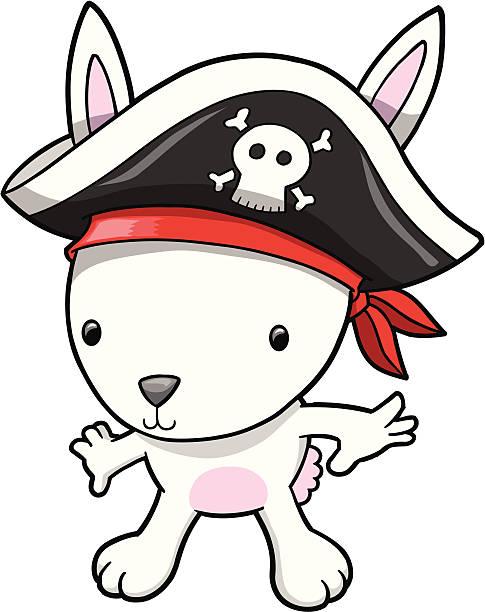 Pirate Rabbit Bunny vector art illustration