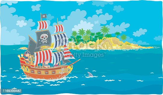 Treasure island and wooden sail vessel with guns of sea filibusters and a blackjack with bones on its main mast in chase, vector illustration in a cartoon style