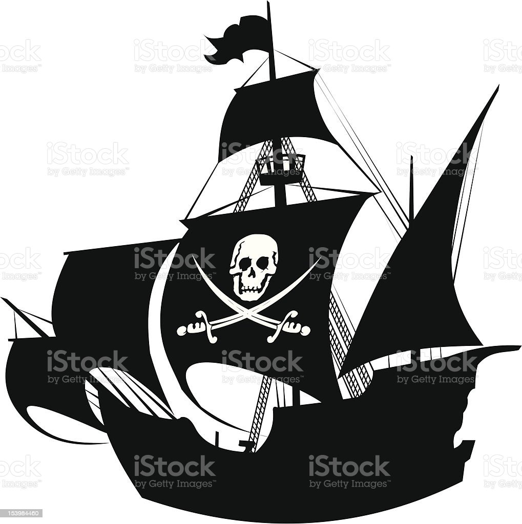 pirate schooner vector art illustration