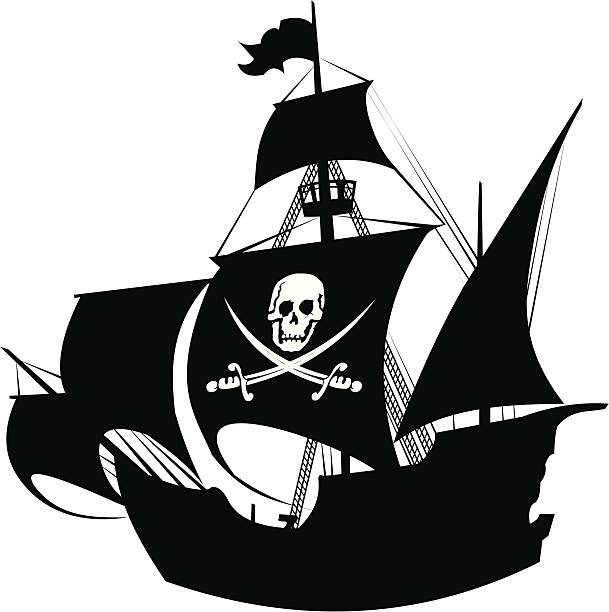 pirate schooner silhouette of a pirate ship with the image of a skeleton on the sail pirate ship stock illustrations