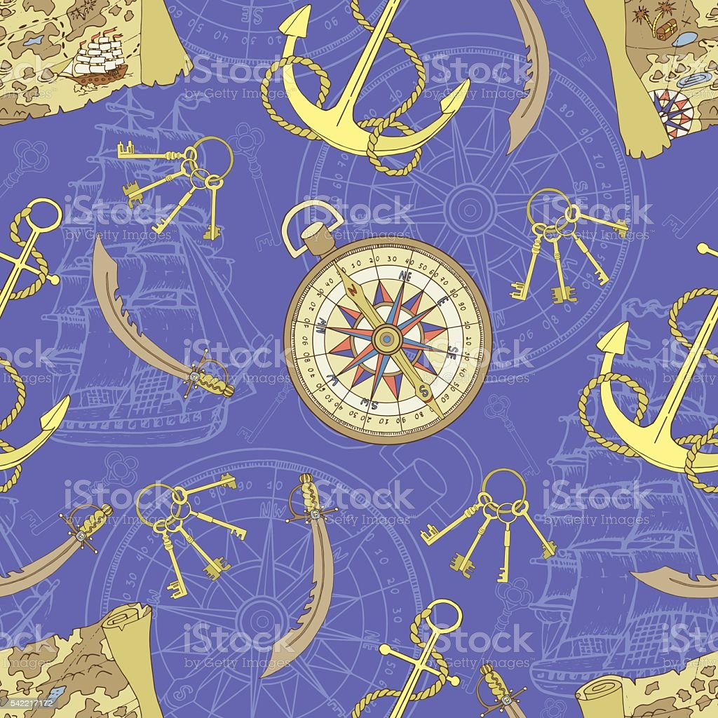 Pirate seamless background with treasure map and compass vector art illustration