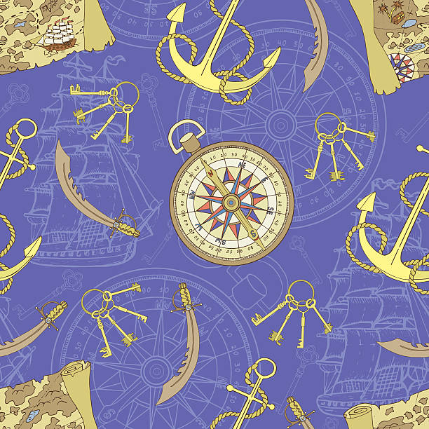 pirate seamless background with treasure map and compass - treasure map backgrounds stock illustrations