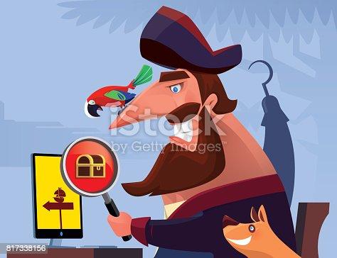 vector illustration of pirate searching treasure via internet…